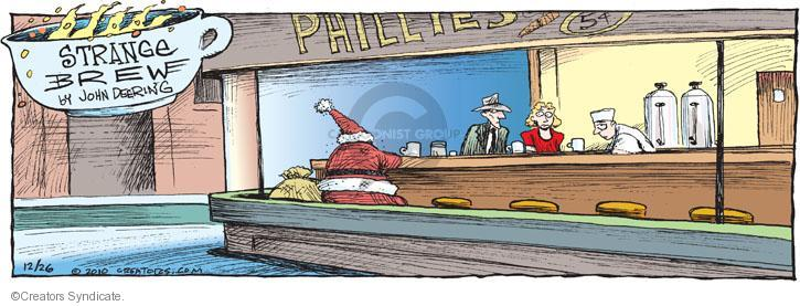 Phillies. 5 (cents). (Santa is sitting in Phillies caf�. The image is created in the style of Hoppers Nighthawks painting).