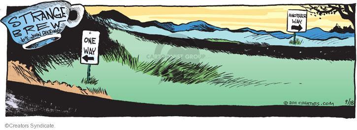 Cartoonist John Deering  Strange Brew 2011-09-18 arrow