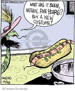Cartoonist John Deering  Strange Brew 2011-10-28 hot dog