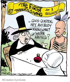 Comic Strip John Deering  Strange Brew 2011-11-23 Thanksgiving