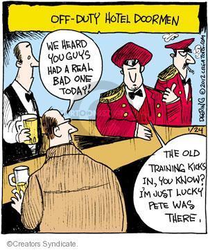 Comic Strip John Deering  Strange Brew 2012-01-24 doorman