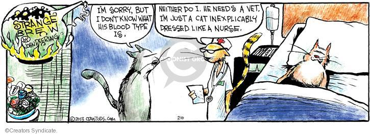 Im sorry, but I don�t know what his blood type is. Neither do I. He needs a vet. Im just a cat inexplicably dressed like a nurse.
