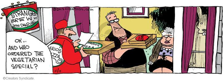 Comic Strip John Deering  Strange Brew 2013-11-17 food delivery
