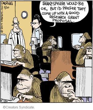 Comic Strip John Deering  Strange Brew 2014-02-20 Shakespeare monkey