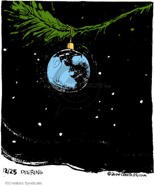 No caption. (A Christmas ornament reminiscent of the earth hangs on a tree branch).