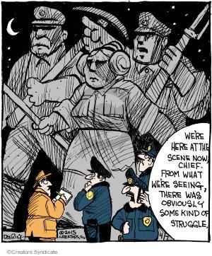 Comic Strip John Deering  Strange Brew 2015-04-07 crime scene
