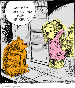 Can fluffy come out and play hairball?