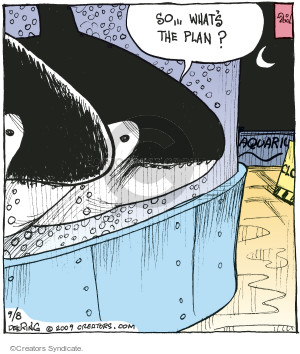 So … Whats the plan? Aquarium. Closed. (This cartoon was originally published on 2009-09-08).