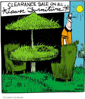 Clearance sale on all lawn furniture.
