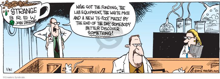 Comic Strip John Deering  Strange Brew 2016-01-31 science study