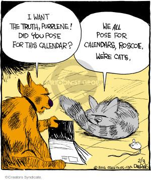 Comic Strip John Deering  Strange Brew 2016-02-03 cat calendar
