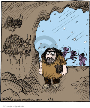 No caption (A caveman notices his likeness to an animal in a cave painting. He looks suspiciously at other cavemen running just outside the opening of the cave).