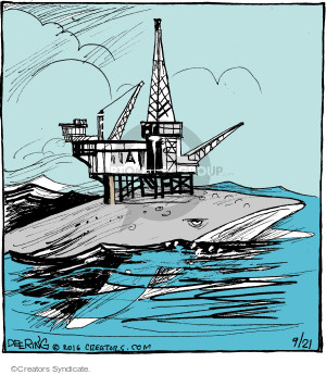No caption (An oil rig is shown on the back of a whale).