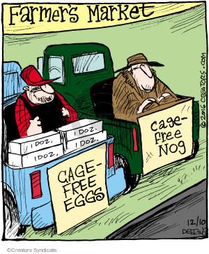 Farmers Market. 1 doz. Cage-free eggs. Cage-free nog.
