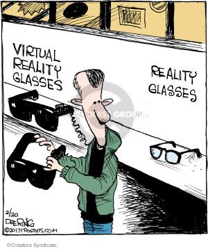 Virtual reality glasses. Reality glasses.