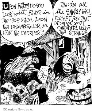 Cartoonist John Deering  Strange Brew 2007-10-29 peasant