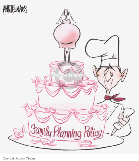 """(No caption).  President George W. Bush as a baker pipes frosting roses onto a wedding cake.  The cake features a single, pregnant mother as the decoration on the top.  """"Family Planning  Policy"""" is inscribed in frosting across the bottom of the cake."""