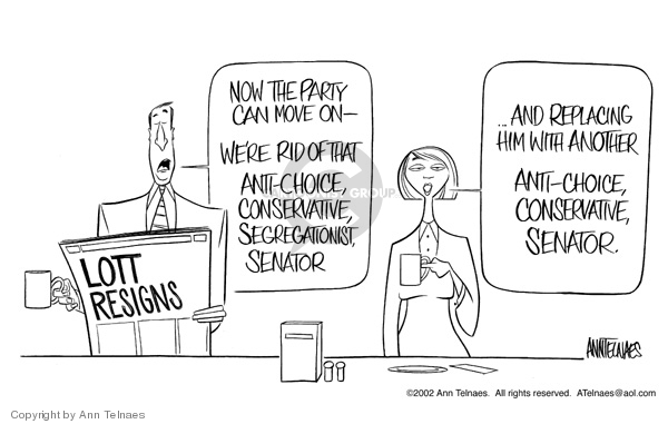 Cartoonist Ann Telnaes  Ann Telnaes' Editorial Cartoons 2002-12-21 conservative