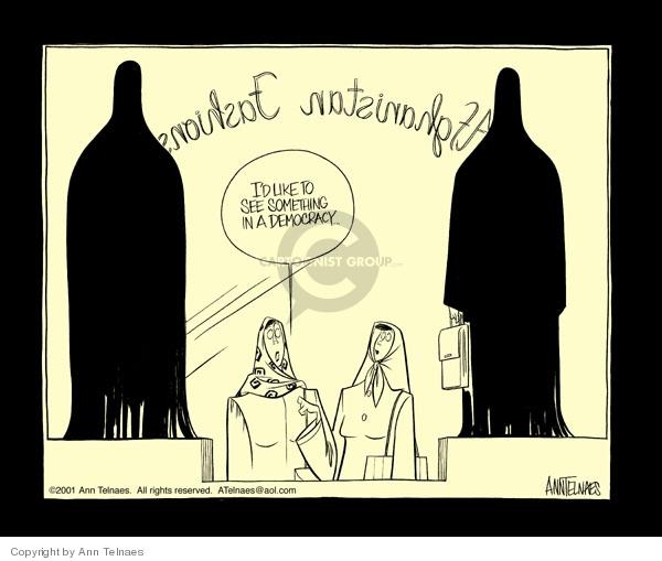 Ann Telnaes  Ann Telnaes' Editorial Cartoons 2001-11-15 burka