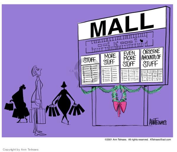 Ann Telnaes  Ann Telnaes' Editorial Cartoons 2001-11-28 consumerism