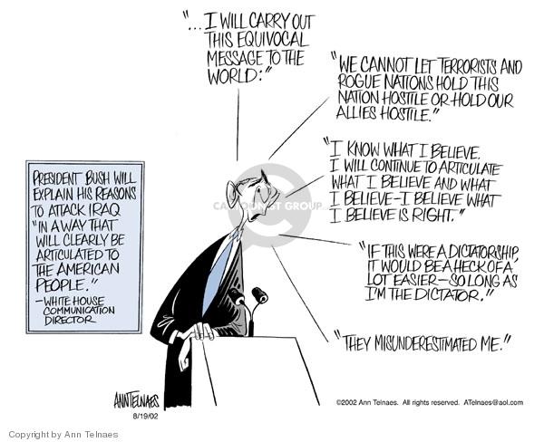 Ann Telnaes  Ann Telnaes' Editorial Cartoons 2002-08-19 communication