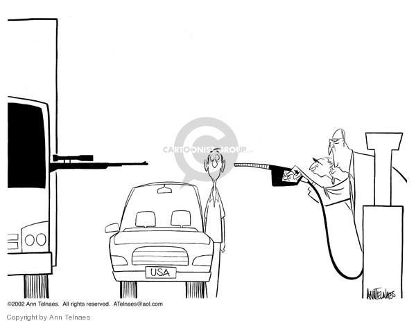 Ann Telnaes  Ann Telnaes' Editorial Cartoons 2002-10-17 gas pump