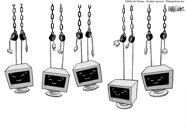 Cartoonist Ann Telnaes  Ann Telnaes' Editorial Cartoons 2002-11-29 computer monitor