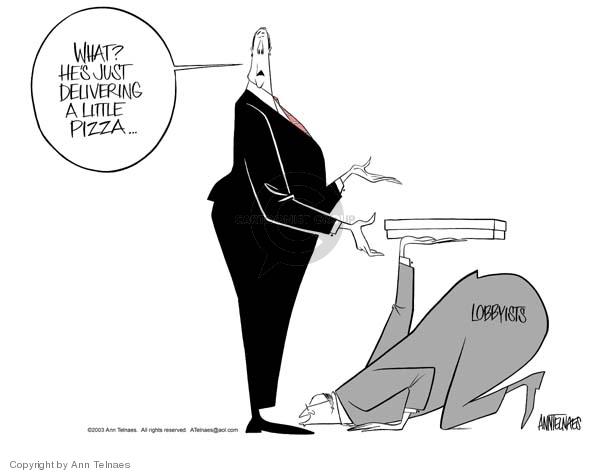 Cartoonist Ann Telnaes  Ann Telnaes' Editorial Cartoons 2003-01-15 political lobby