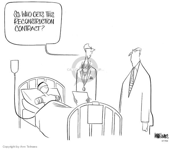 Ann Telnaes  Ann Telnaes' Editorial Cartoons 2003-04-17 doctor