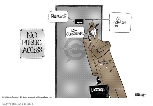 Cartoonist Ann Telnaes  Ann Telnaes' Editorial Cartoons 2003-09-14 lobby