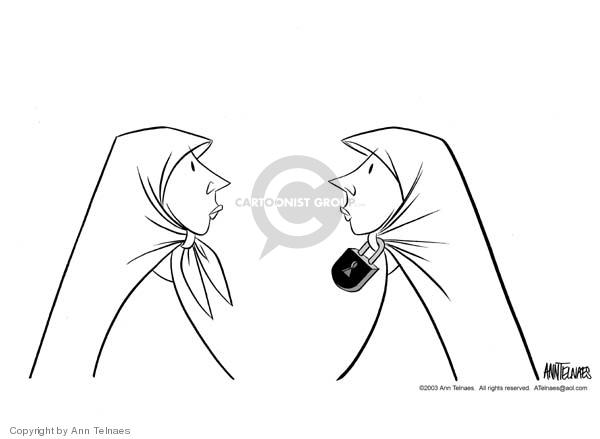 No Caption.  (Two women wearing Muslim head scarves.)
