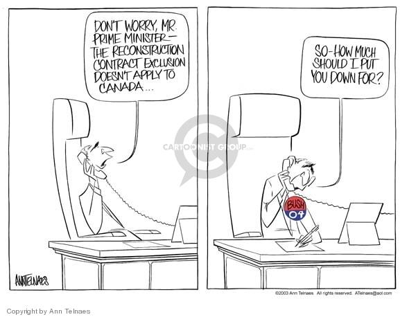 Ann Telnaes  Ann Telnaes' Editorial Cartoons 2003-12-21 George W. Bush