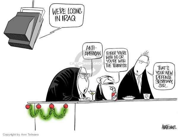 Cartoonist Ann Telnaes  Ann Telnaes' Editorial Cartoons 2006-12-07 Robert Gates