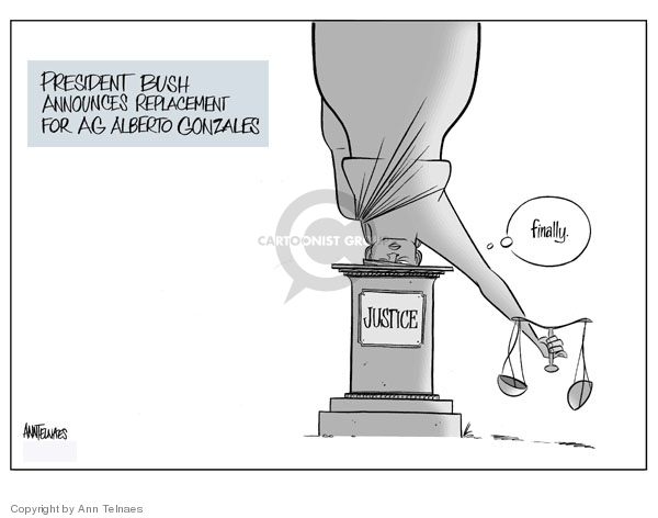 Cartoonist Ann Telnaes  Ann Telnaes' Editorial Cartoons 2007-09-17 Michael Mukasey
