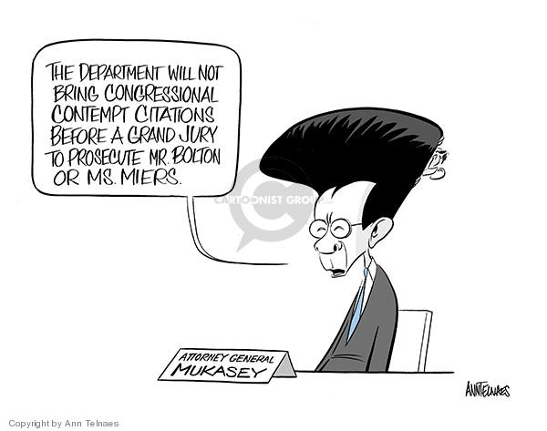 Cartoonist Ann Telnaes  Ann Telnaes' Editorial Cartoons 2008-03-01 Michael Mukasey