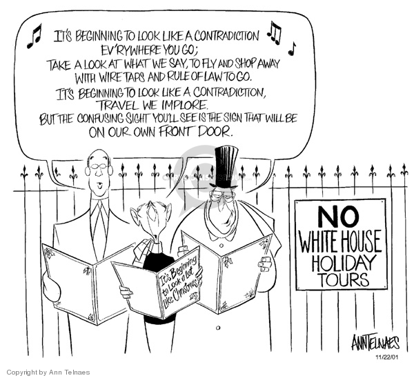 Cartoonist Ann Telnaes  Ann Telnaes' Editorial Cartoons 2001-11-22 rule of law