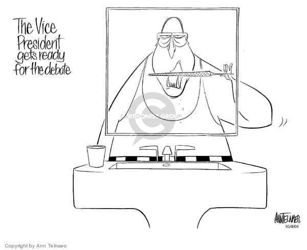 Ann Telnaes  Ann Telnaes' Editorial Cartoons 2004-10-04 vice-presidential debate
