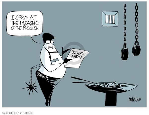 Ann Telnaes  Ann Telnaes' Editorial Cartoons 2007-10-05 Alberto Gonzales