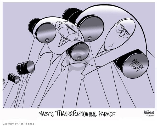Ann Telnaes  Ann Telnaes' Editorial Cartoons 2007-11-19 parade balloon