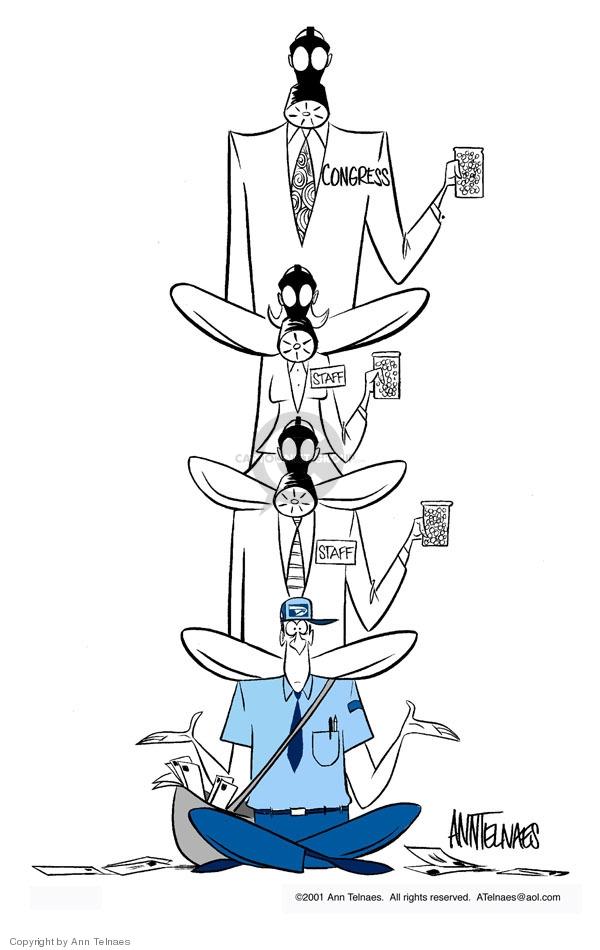 Ann Telnaes  Ann Telnaes' Editorial Cartoons 2001-10-23 gas mask