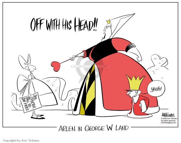 Cartoonist Ann Telnaes  Ann Telnaes' Editorial Cartoons 2006-07-26 Alice in Wonderland