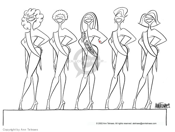 Miss Sharia.  (Beauty contestants are lined up in bathing suits.  Miss Sharia is missing one of her hands.)