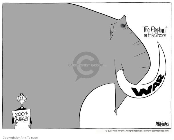 The elephant in the room.  WAR.  2004 Budget.
