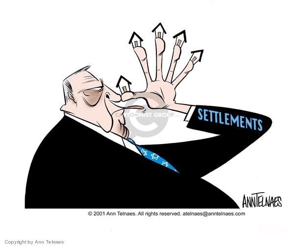 Settlements.  (Ariel Sharon thumbs his nose.  Settlement houses are at the end of his fingers.)