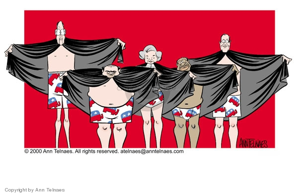 No caption.  (Following Bush v. Gore decision, five supreme court judges lift their robes to reveal underwear imprinted with Republican elephants.)