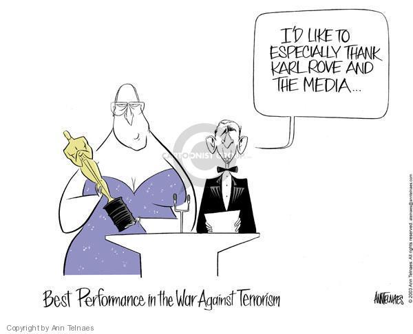 Cartoonist Ann Telnaes  Ann Telnaes' Editorial Cartoons 2003-03-22 vice president