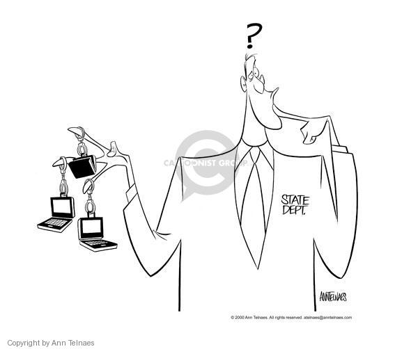 Cartoonist Ann Telnaes  Ann Telnaes' Editorial Cartoons 2000-05-05 computer security