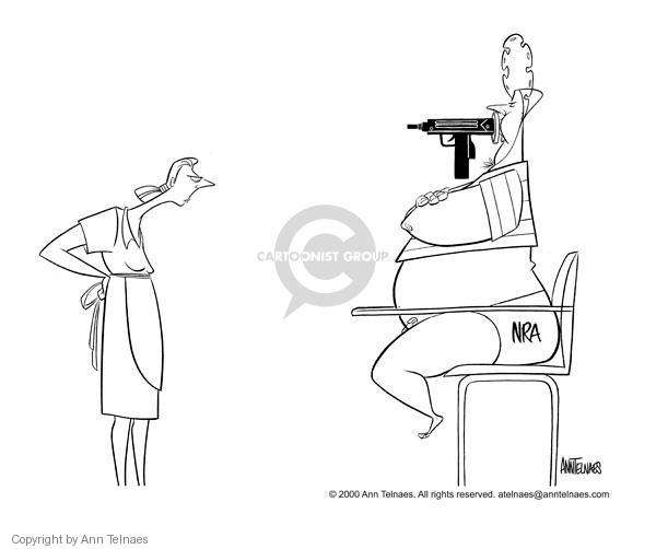 Cartoonist Ann Telnaes  Ann Telnaes' Editorial Cartoons 2000-05-12 gun
