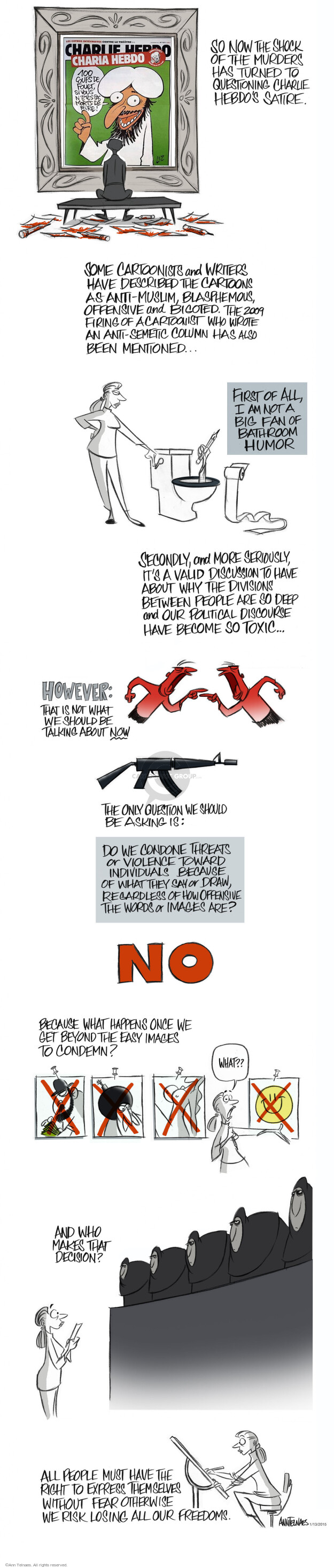 Ann Telnaes  Ann Telnaes' Editorial Cartoons 2015-01-13 Paris attack