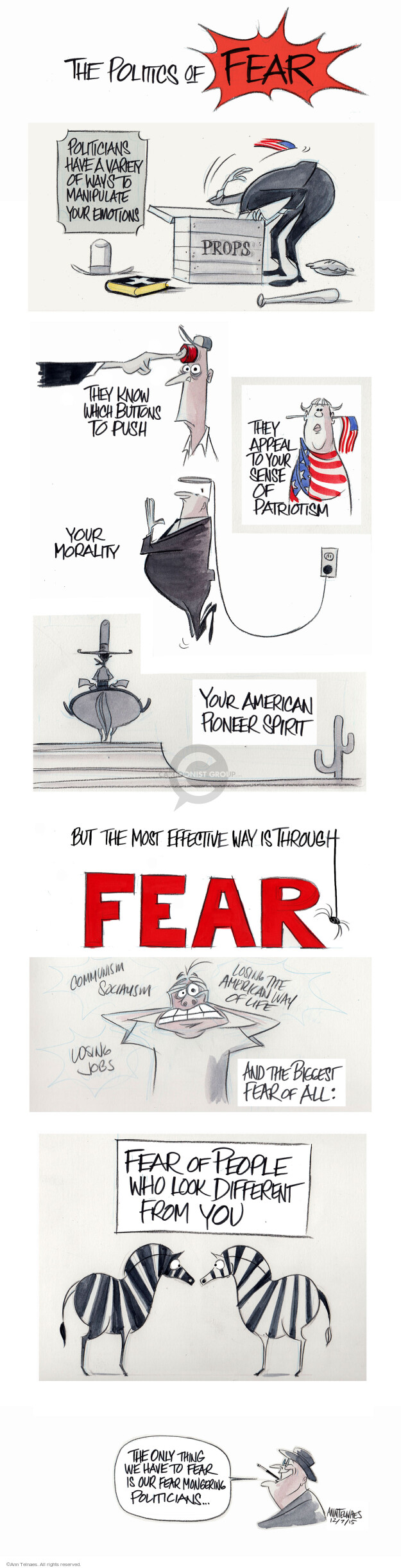 Ann Telnaes  Ann Telnaes' Editorial Cartoons 2015-12-09 afraid